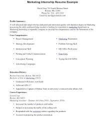 Sample Sports Marketing Internship Resume Intern