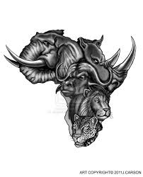African Animals In Map Tattoo Design