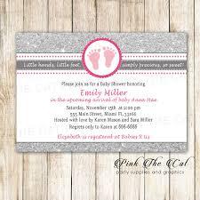 25 Printed Invitations Footprints Invitation Glitter Silver Pink