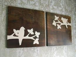 Bird Silhouette Wall Hanging Wood Decor Art Set Rustic Home