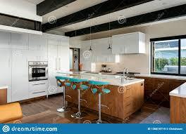 100 Design House Interiors Modern Home Interior Kitchen White Cabinets Blue Green Bar