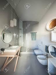 luxury apartment modern bathroom with cement floor