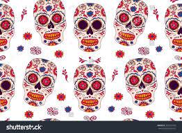Easy Sugar Skull Day Of by Vector Skull Color Seamless Illustration Tshirt Stock Vector