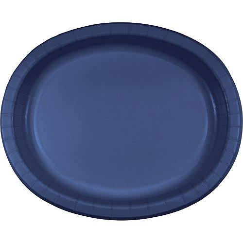 "Creative Converting 433278 Paper Platters - Navy, 10"" x 12"", Oval, 96ct"