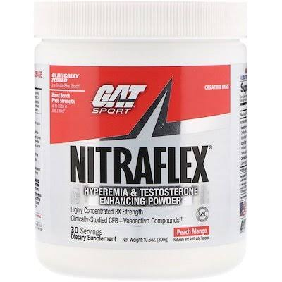 Gat NITRAFLEX Pre-Workout & Testosterone Booster 30 Servings - Peach Mango