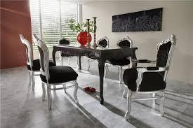 casa padrino barock esszimmer set schwarz silber esstisch 6 stühle