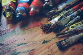 Painting Red Green Blue ART Color Hand Brushes Close Up Macro Photography Acrylic Paint Paints Art