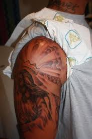 Men Half Sleeve Simple Religious Jesus Tattoo Design