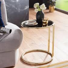wohnling design beistelltisch leona ø 45 cm couchtisch rund schwarz matt gold designer glas wohnzimmertisch modern glastisch mit metallgestell