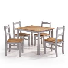 Manhattan Comfort York 5 Piece Gray Wash Solid Wood Dining Set With 1 Table