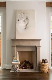 Gray Limestone Fireplace Mantel with Gold Herringbone Firebox