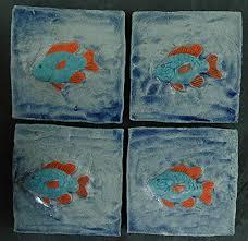 echtes kunsthandwerk 4 tolle relief fliesen fische für das