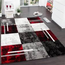 designer teppich karo grau rot