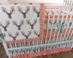 Teal And Coral Baby Bedding by Crib Bedding Woodlands Fawn Baby Bedding Baby