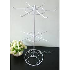 Rotating Metal Iron White Display Rack 12 Pegs 2 Layer Spinning Tiers For Retail Store Tabletop