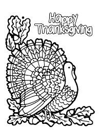 Turkey Happy Thanksgiving Coloring Pages Children Inside Printable