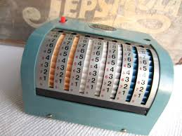 Daher Decorated Ware 1971 by Vintage 1960s Swift Adding Machine Old Calculator By