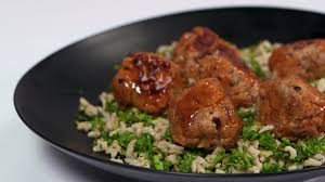 Mushroom and Pork Meatballs with Broccolini Rice Recipe Cooking