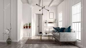wohnzimmer in minimalistischen design mit weißen wänden und decke sofa in der nähe hellen fenstern moderne designer le und dekorative