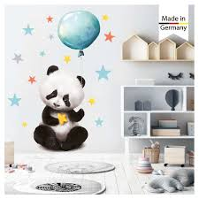 wandtattoo kinderzimmer panda luftballon sterne wanddeko