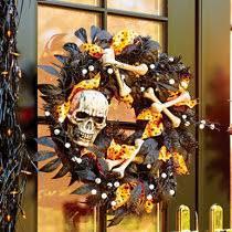 Grandin Road Halloween Wreath by Lighted Jack O Lantern Halloween Wreath Improvements Catalog