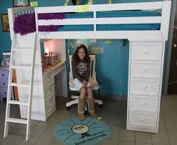 twin white wood loft bed with storage drawers and desk underneath