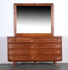 Johnson Carper Mid Century Dresser by Mid Century Pine Dresser And Mirror By Franklin Shockey Ebth