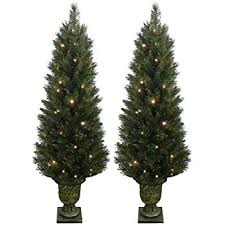 Lighted Spiral Christmas Tree Uk by Set Of 2 Light Up Prelit Artificial Pine Indoor Outdoor Pathway