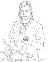 Nurse Ckecking Blood Pressure Coloring Page