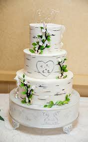 Complete With A Birch Tree Boasting Heart Of The Couples Initials Carved In This Three Tier Disneyland Wedding Cake Is Perfect Fit For