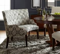 Dining Room Patterned Fabric Upholstered Bench With High Back Combined Round Brown Varnished