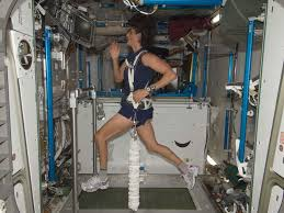 NASA Astronaut Sunita Williams Exercising On A Treadmill Aboard The International Space Station 2012