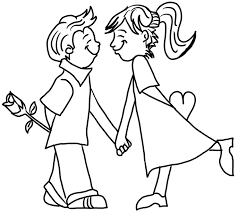 Boy And Girl In Love With Rose Heart Valentines Day Coloring Book Printout