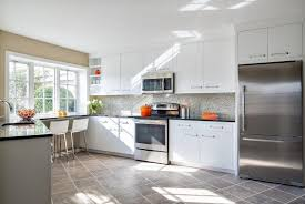 Kitchens With Dark Cabinets And Light Countertops by Kitchen Backsplash White Cabinets Black Countertop S