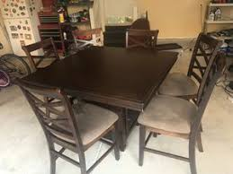 Dining Room Table With Built In Wine Glass Rack And Six Chairs For Sale