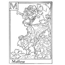 Strikingly Design Ideas Flower Fairy Coloring Pages Of Mallow Among Flowers