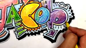 The Word Art In Graffiti Letters How To Draw Write Jacob Cool