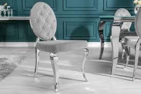 riess ambiente esszimmerstuhl modern barock edel grau mit samt bezug