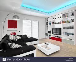 interieur schüsse eines modernen wohnzimmer mit schwarzem