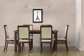 wohnzimmer einstellung moderne tisch und stühle eine leere wand