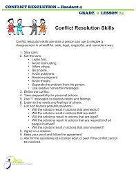 100 Resolution 4 Conflict Skills CONFLICT RESOLUTION Handout GRADE