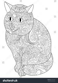 Cat Animal Coloring Book For Adults Vector Illustration Anti Stress Adult