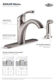 Kohler Fairfax Bathroom Faucet Aerator by Incredible Kohler Mistos Single Handle Standard Kitchen Faucet With Side Home Depot Kohler Kitchen Faucet Designs Jpg