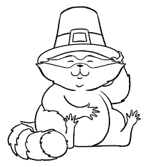 Cute Racoon And Pilgrim Hat Coloring Page
