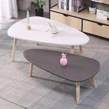 2er set beistelltisch retro couchtisch kaffeetisch wohnzimmer design tisch weiß grau