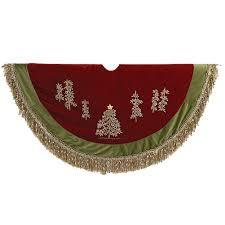 Kurt Adler Christmas Tree Skirt 50D Burgundy Green W Embroidery Trees N Fringe C1202