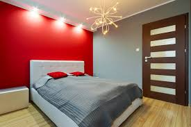 Bedroom Marvelous Unique With White Headboard Bed Along Grey Covered Bedding And Red Pillow Also Painted Wall Laminate Wooden
