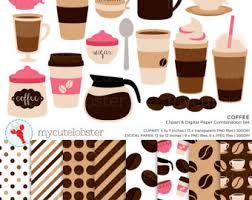 Coffee Clipart Digital Paper Set
