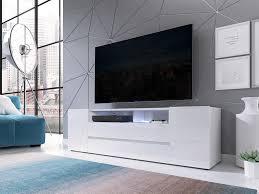 mirjan24 tv lowboard sound stehend tv schrank mit led beleuchtung stilvoll tv möbel rtv farbe weiß weiß hochglanz