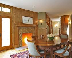 Classic Dining Room With A Tile Fireplace Surround Oak Wall And Trim Wooden Sets